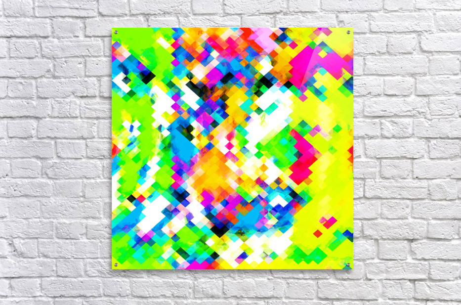 psychedelic geometric pixel abstract pattern in yellow blue green pink  Acrylic Print