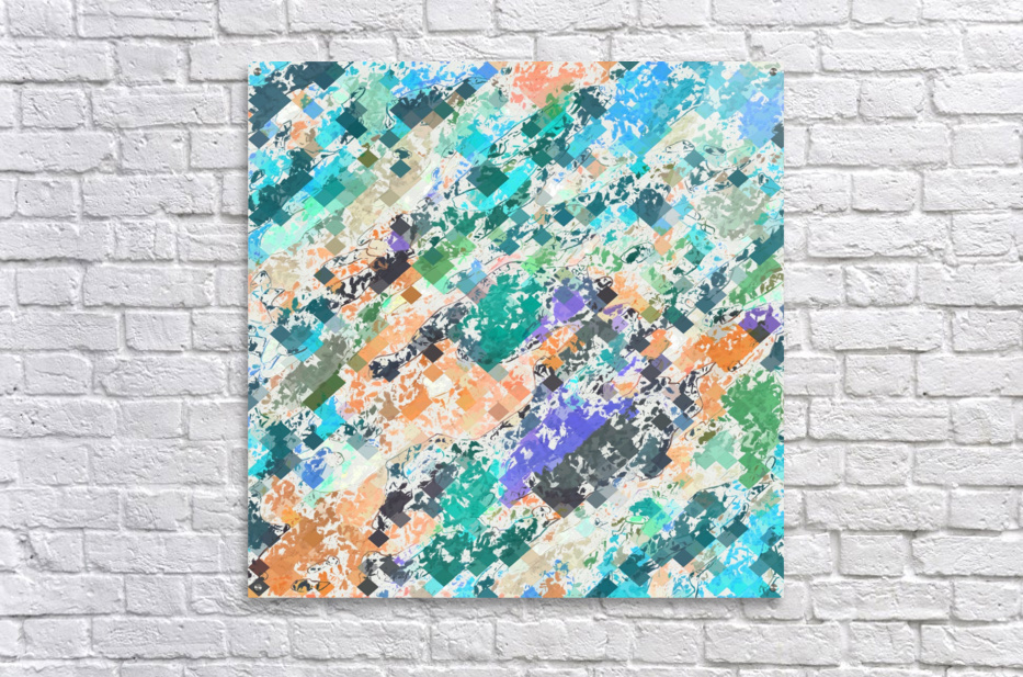 psychedelic geometric square pixel pattern abstract in green blue purple orange  Acrylic Print