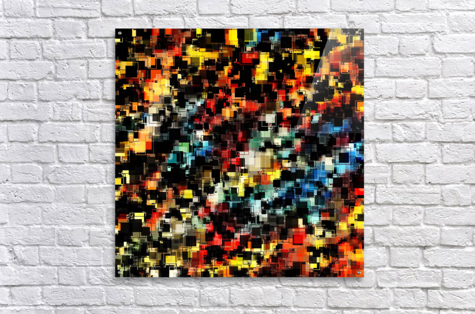 psychedelic geometric pixel square pattern abstract background in red orange blue yellow black  Acrylic Print