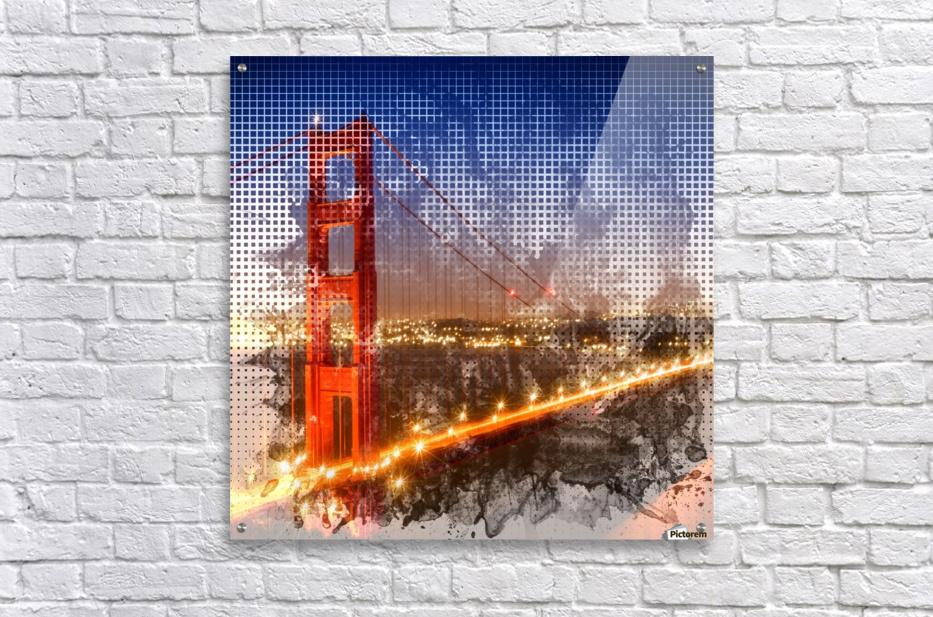 Graphic Art Golden Gate Bridge   watercolour style  Acrylic Print