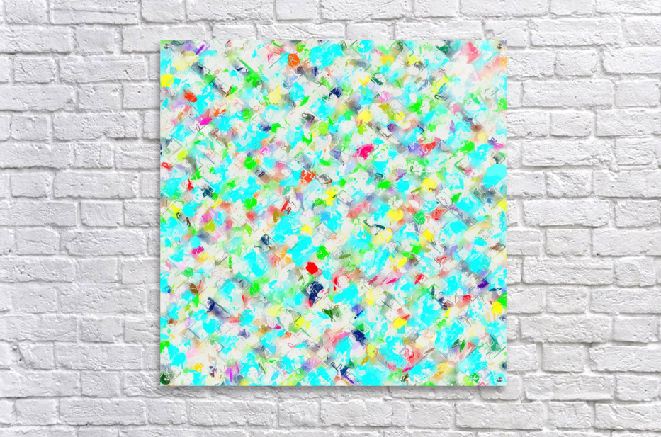 splash painting texture abstract background in blue yellow green red pink  Acrylic Print