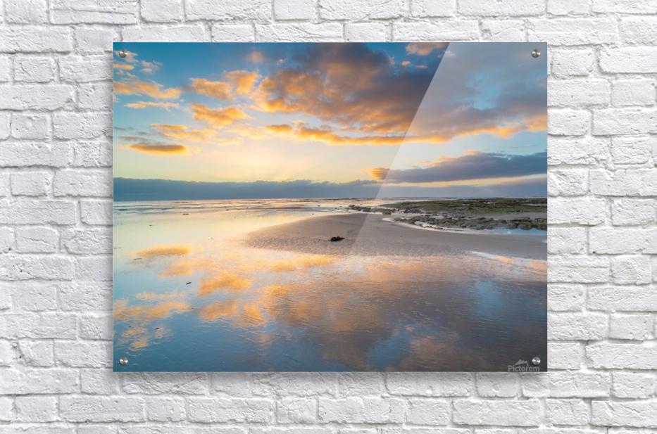 Beach sunrise reflected on the wet sand  Acrylic Print