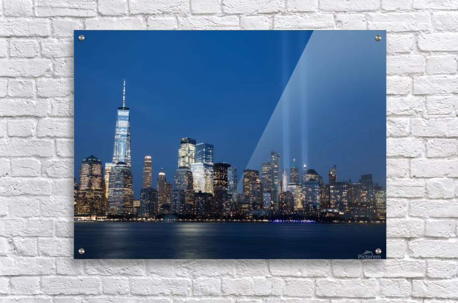 911 Memorial Lights NYC skyline  Acrylic Print