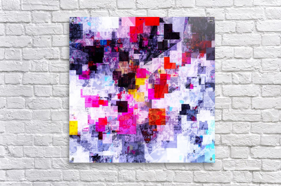 vintage psychedelic geometric square pixel pattern abstract in pink red blue purple  Acrylic Print