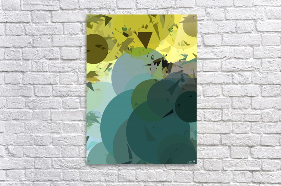 geometric circle and triangle pattern abstract in blue and yellow  Acrylic Print