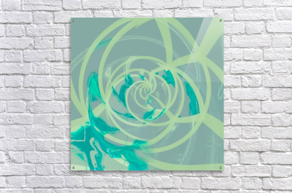 spiral line pattern painting texture abstract in blue green  Acrylic Print