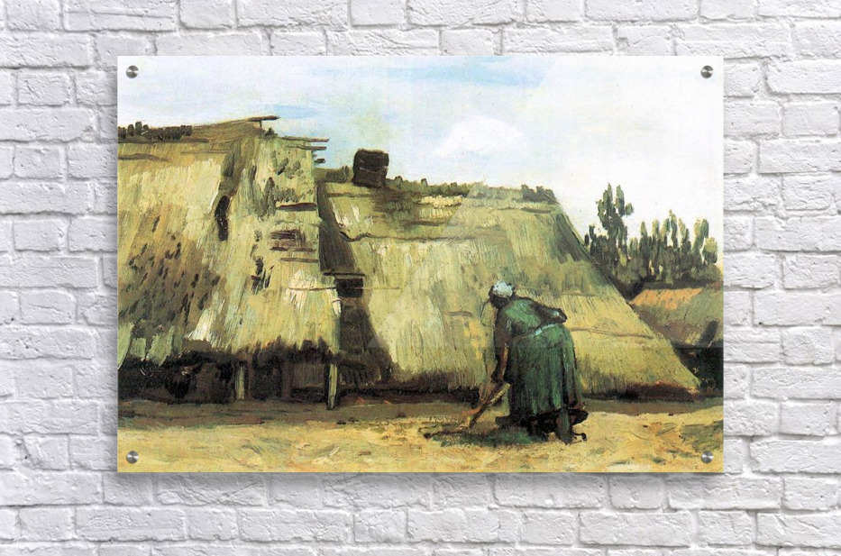 Farmhouse with farmer digging by Van Gogh  Acrylic Print
