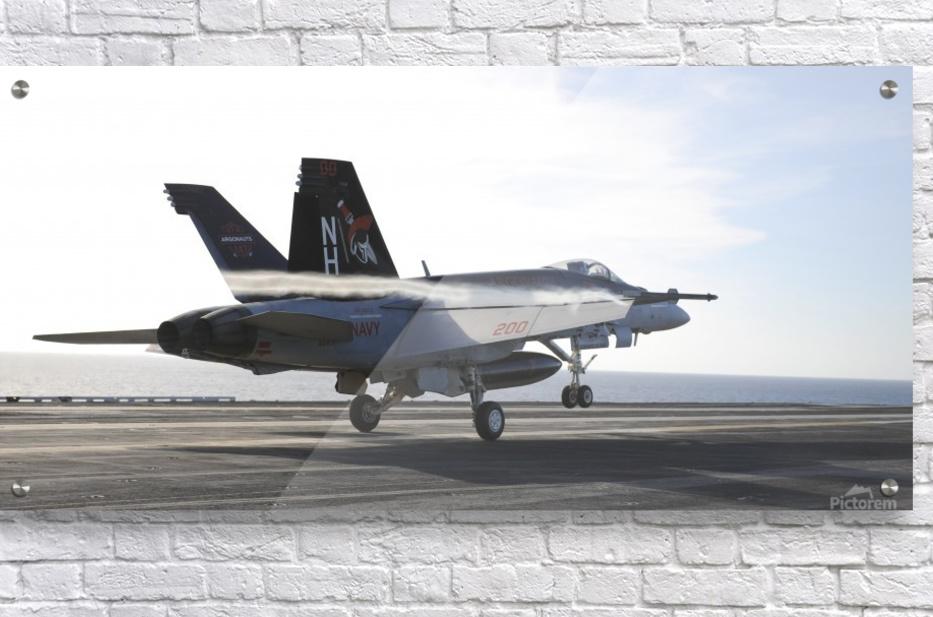 An F-A-18E Super Hornet touches the flight deck of USS Nimitz.  Acrylic Print