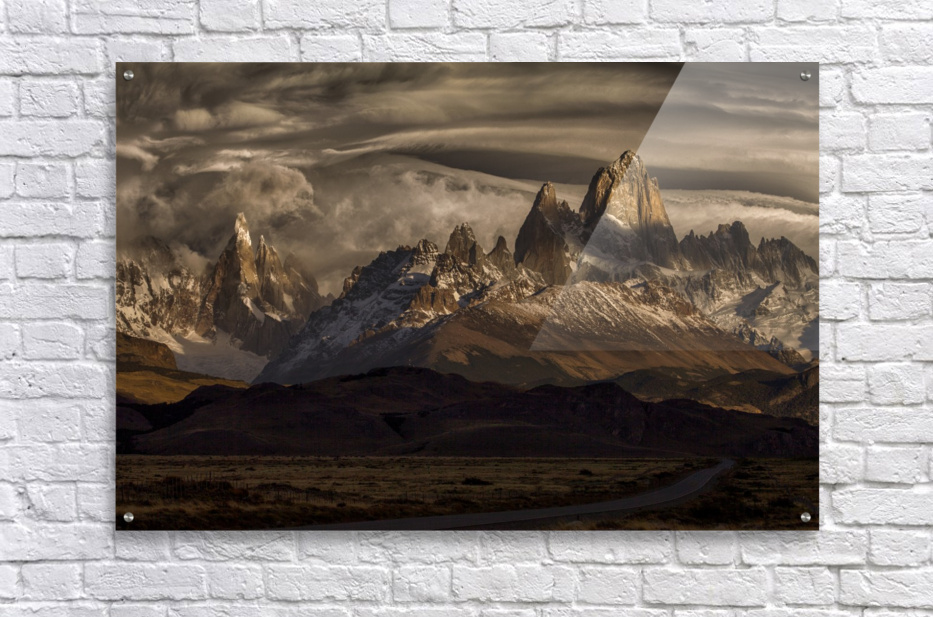 Striped sky over the Patagonia spikes  Acrylic Print