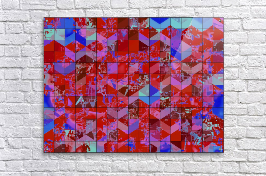 geometric square and triangle pattern abstract in red and blue  Acrylic Print