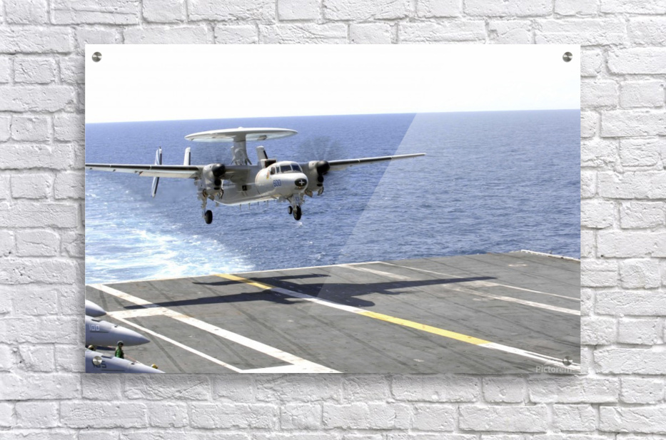 An E-2C Hawkeye makes its approach to the flight deck of USS Dwight D. Eisenhower.  Acrylic Print