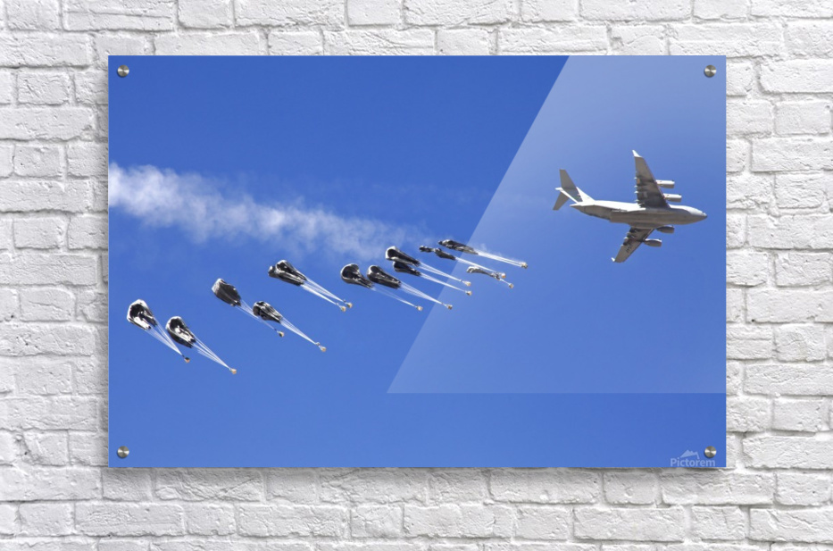 A C-17 Globemaster ejects a supply load of pallets during Operation Koranai Permakhtag.  Acrylic Print