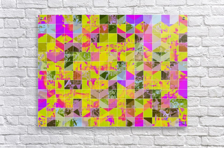geometric square pattern abstract in yellow green pink  Acrylic Print