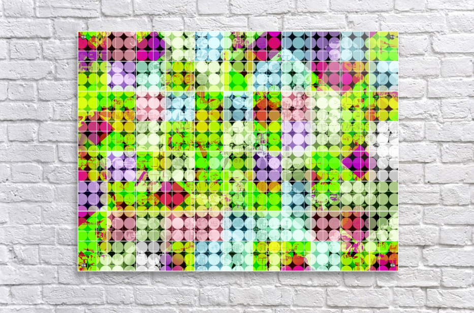 geometric square and circle pattern abstract in green pink  Acrylic Print