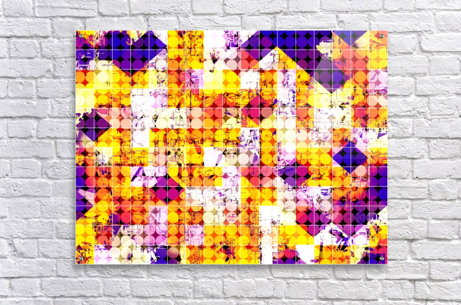 geometric square and circle pattern abstract in orange blue  Acrylic Print