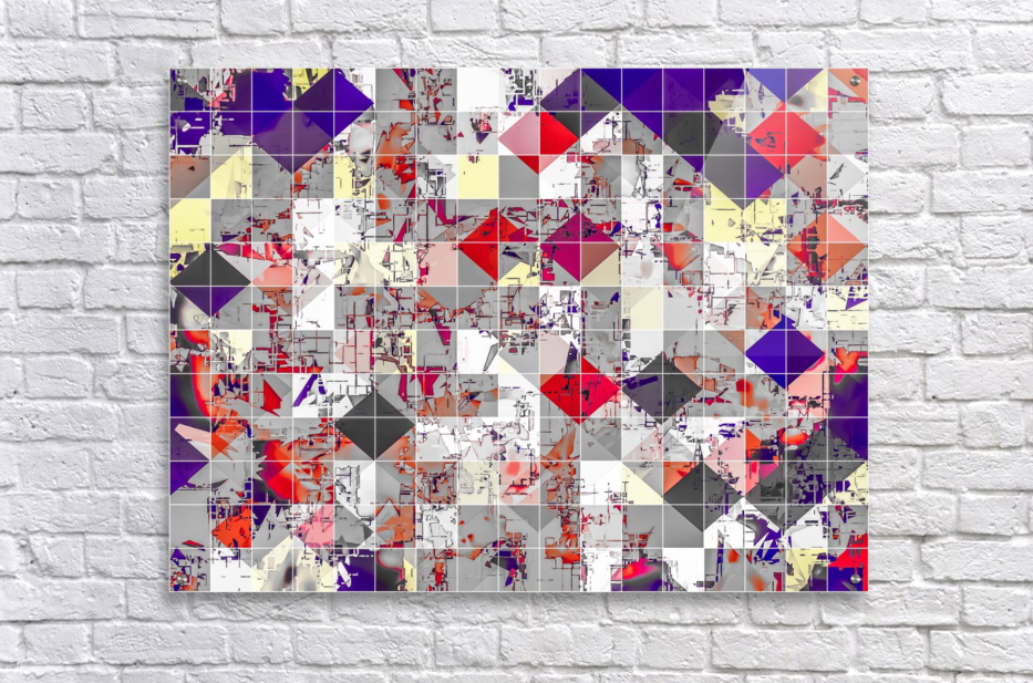 geometric square pixel pattern abstract in purple orange red  Acrylic Print