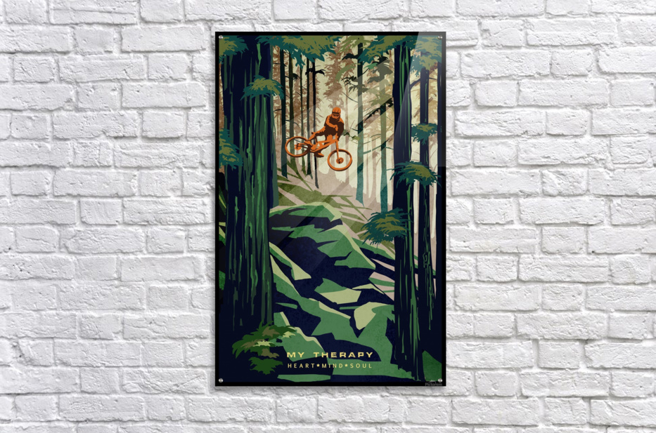 My Therapy retro Mountain biking art   Acrylic Print