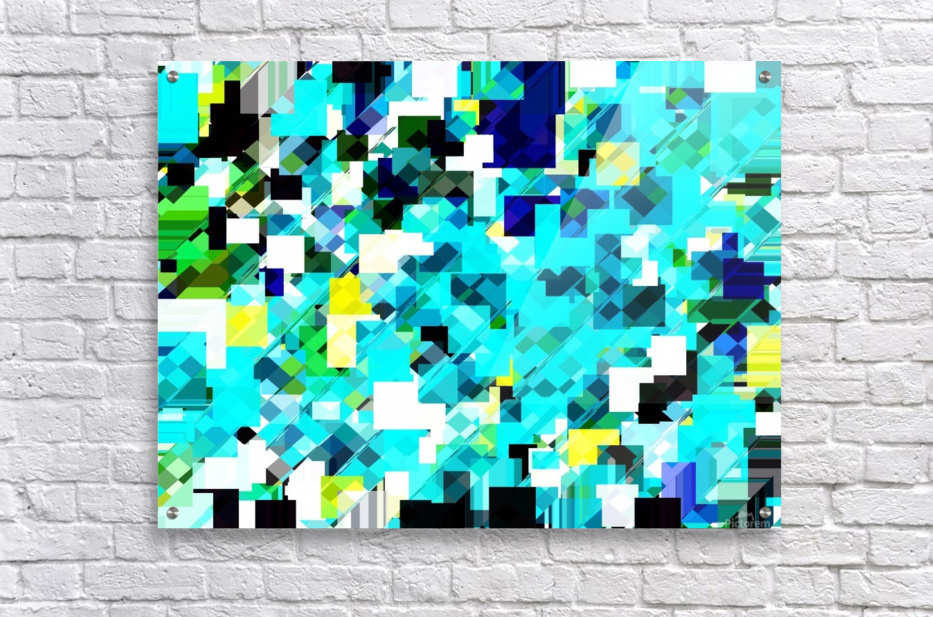 geometric square pixel pattern abstract in blue and yellow  Acrylic Print