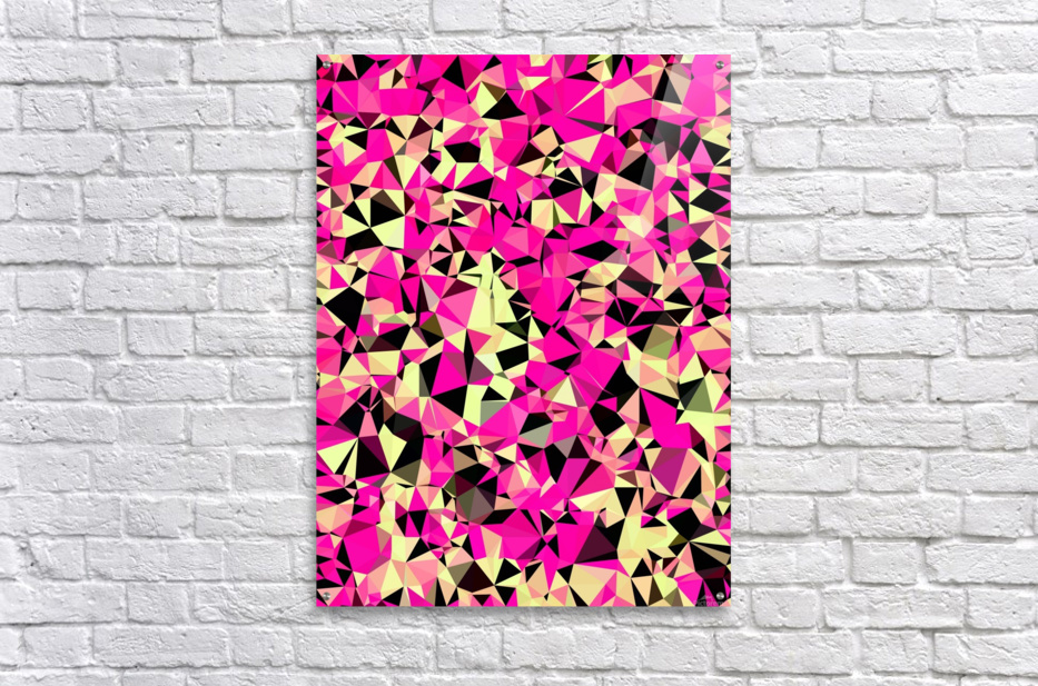 geometric triangle pattern abstract in pink and black  Acrylic Print