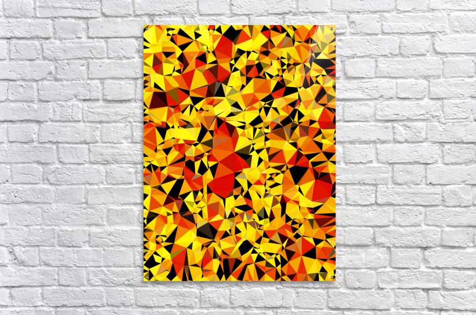 geometric triangle pattern abstract in orange yellow red  Acrylic Print
