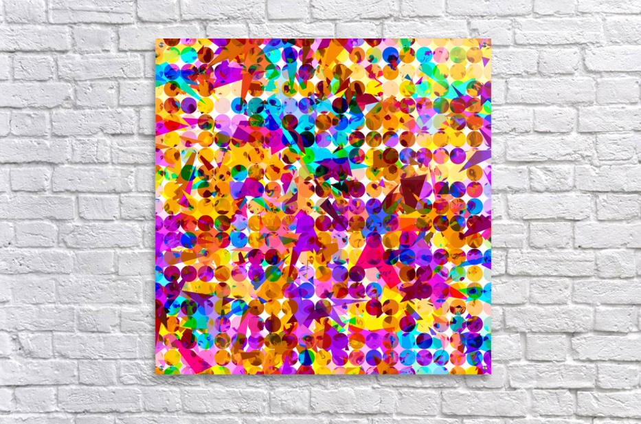 geometric circle and triangle pattern abstract in orange blue pink purple  Acrylic Print