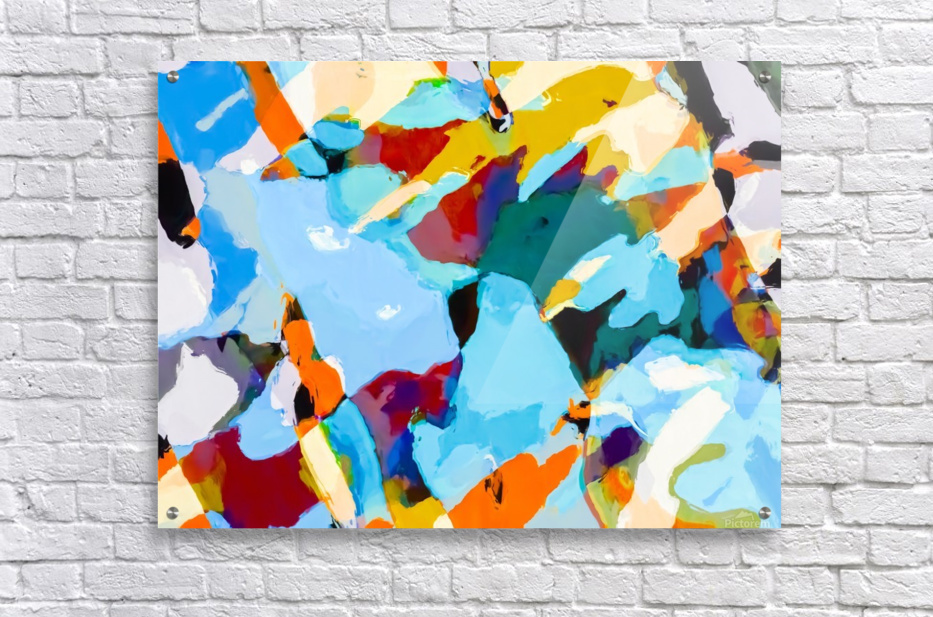 painting texture abstract in blue orange green yellow  Acrylic Print