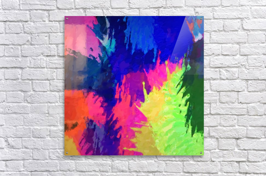 painting texture abstract background in blue pink yellow green  Acrylic Print