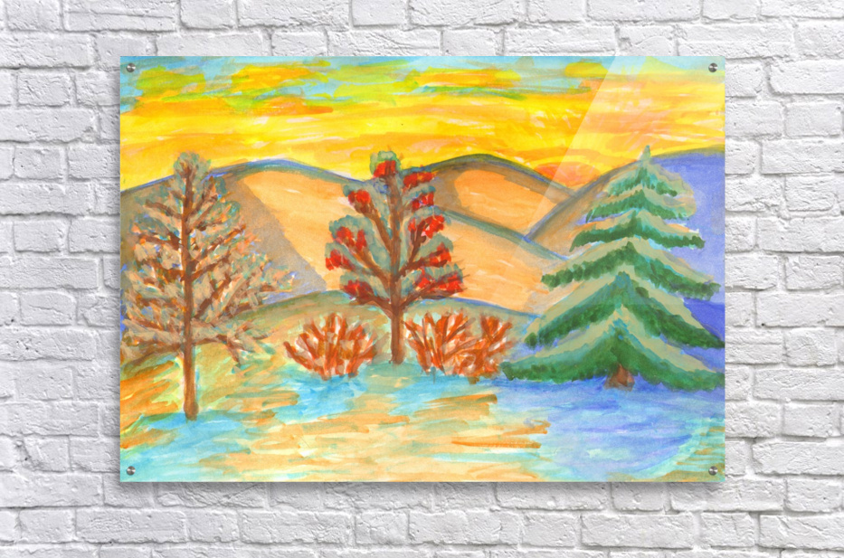 Winter landscape at sunset  Acrylic Print