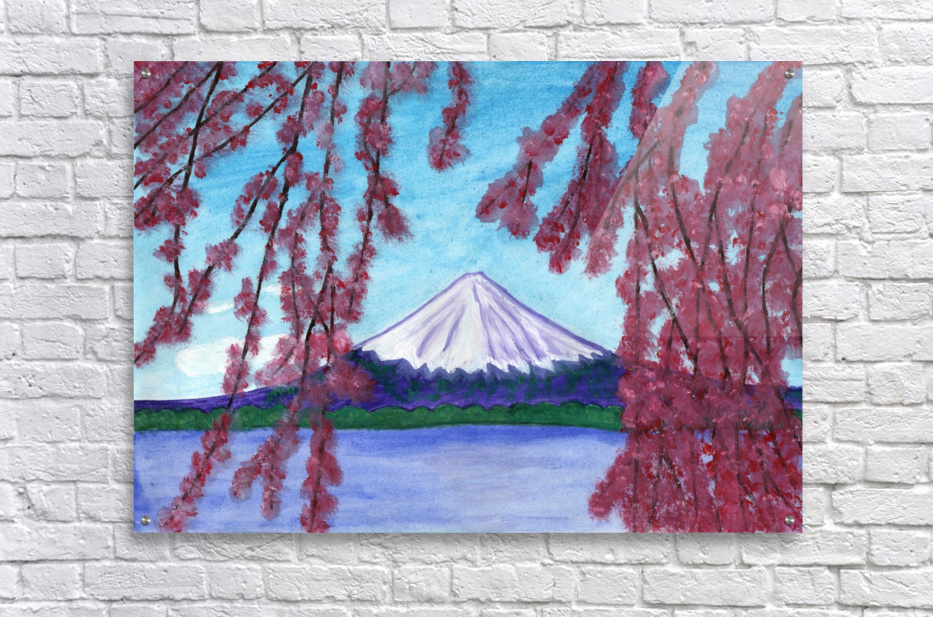 Sakura blooming on the background of a snowy mountain  Acrylic Print