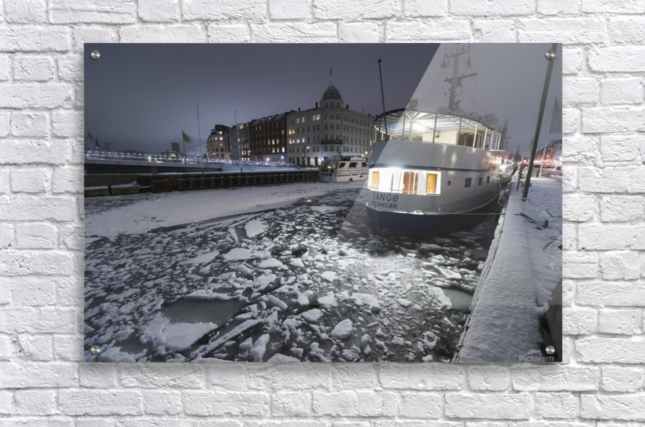 Frozen Nyhavn canal in winter  Acrylic Print