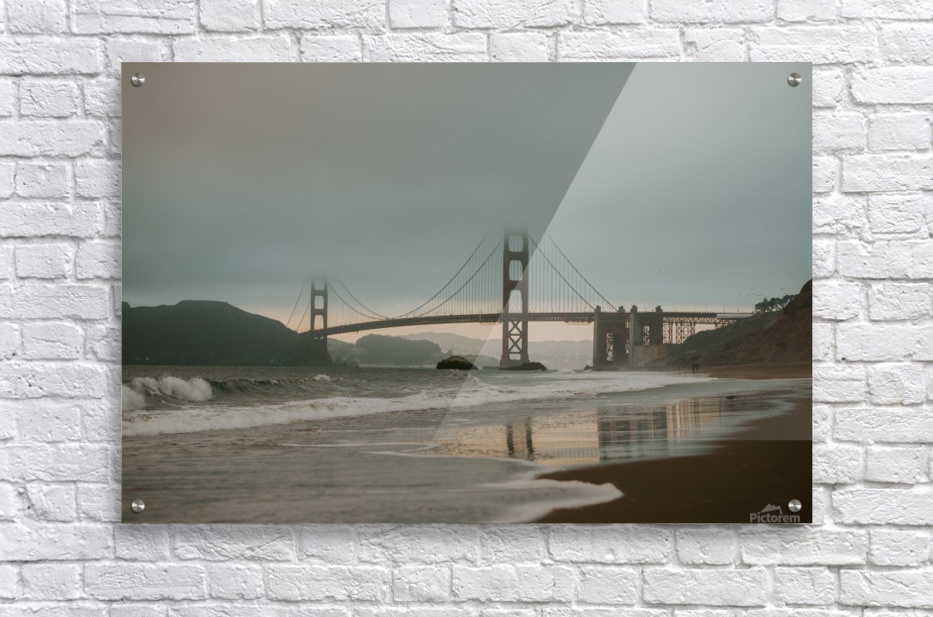 Golden Gate in the smog  Impression acrylique