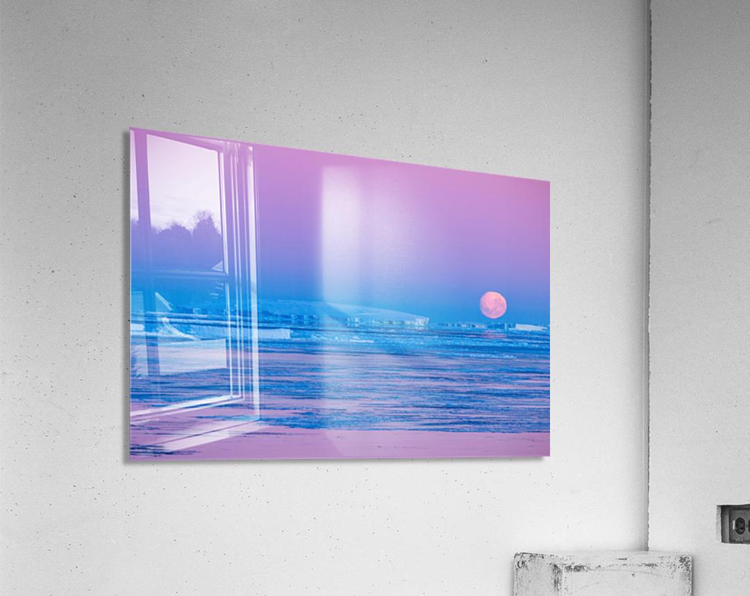 Low Moonset Close Up  Acrylic Print
