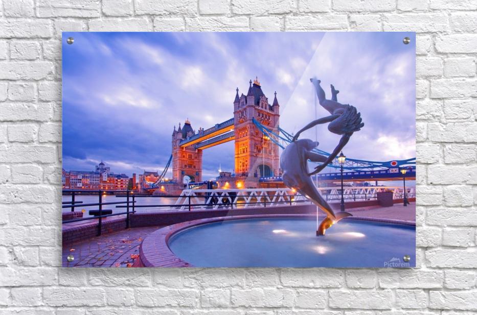 LON 014 Girl with  Dolphin and Tower Bridge  Acrylic Print