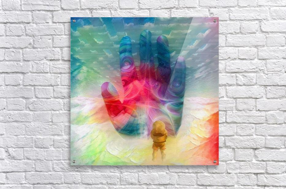 Astronaut Before Human Palm  Acrylic Print