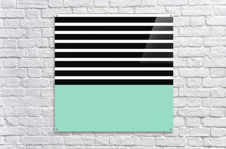 Black & White Stripes with Aquamarine Patch  Acrylic Print