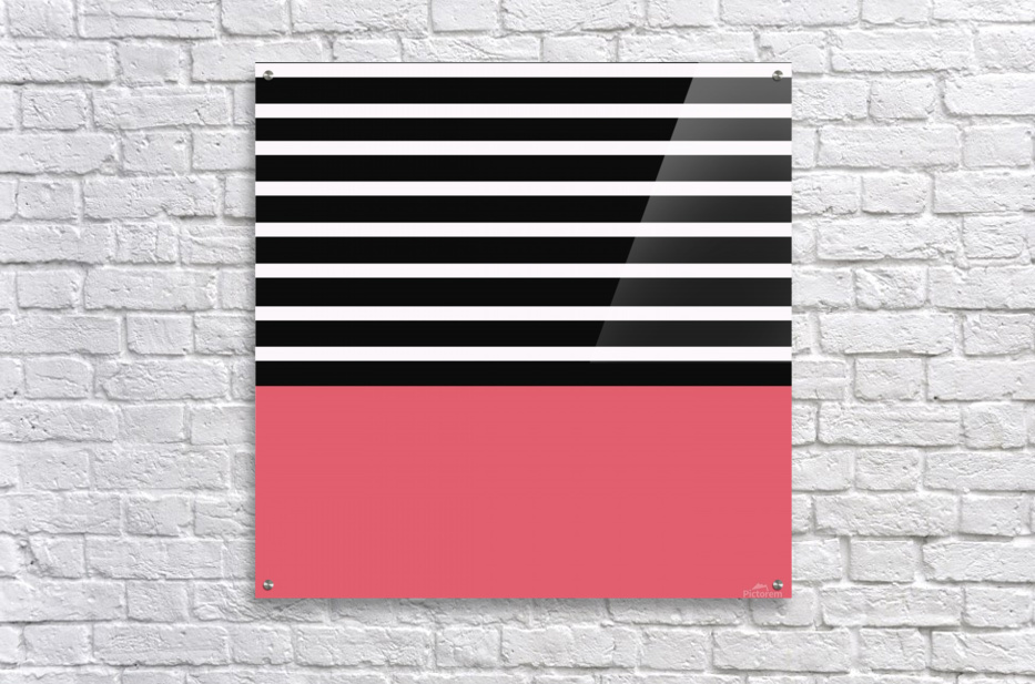 Black & White Stripes with Bitter Sweet Patch  Acrylic Print