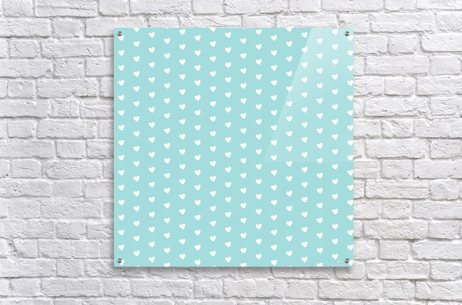 Kids Green Blush Heart Shape Pattern  Acrylic Print