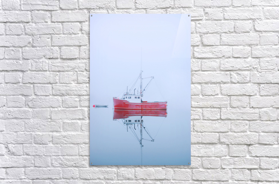 New Brunswick - fishing boat reflected in water  Acrylic Print