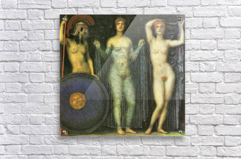 The three Goddesses Athena, Hera and Aphrodite by Franz von Stuck  Acrylic Print