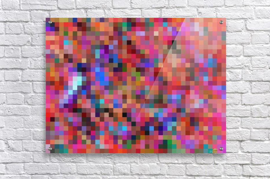 geometric square pixel pattern abstract background in pink blue orange purple  Acrylic Print