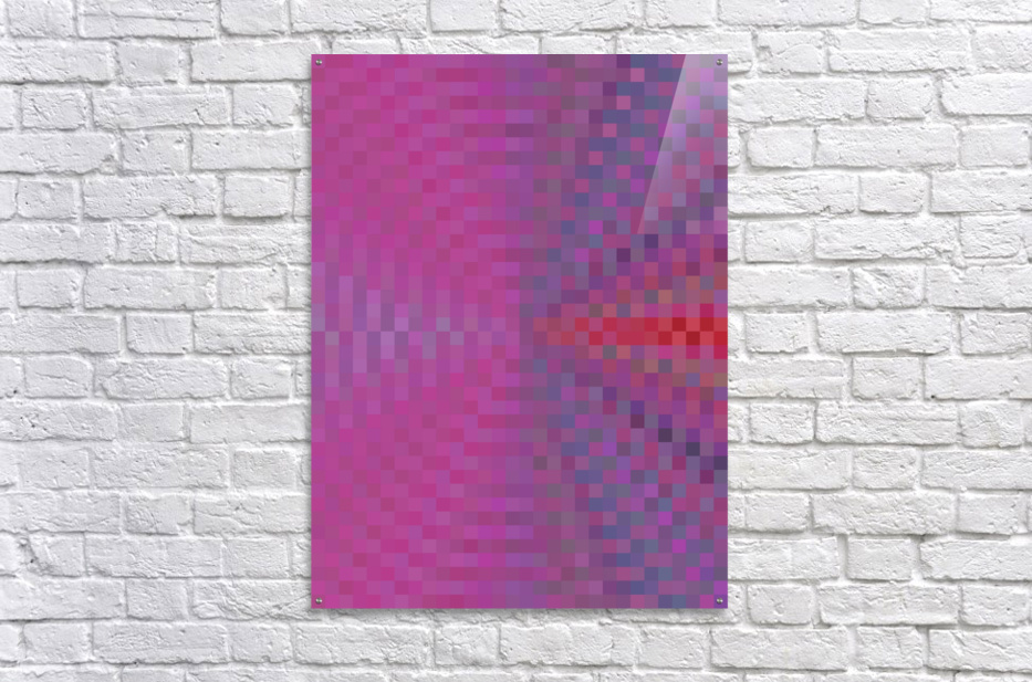 geometric square pixel pattern abstract background in pink and blue  Acrylic Print