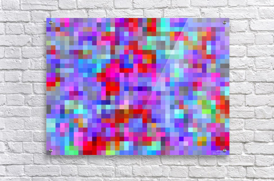 geometric square pixel pattern abstract background in blue purple pink red  Acrylic Print