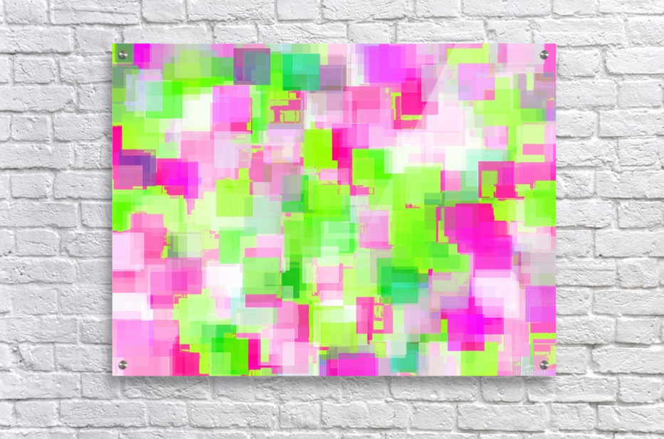 geometric square pattern abstract background in pink and green  Acrylic Print