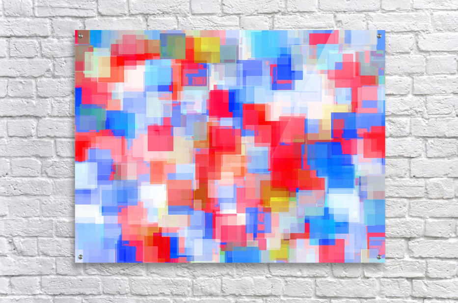 geometric square pattern abstract background in red and blue  Acrylic Print
