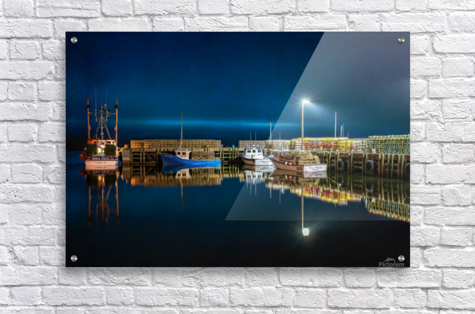 NIGHT TIME AT THE WHARF with textures  Acrylic Print