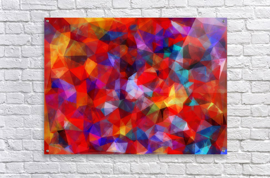 geometric triangle pattern abstract background in red blue yellow  Acrylic Print