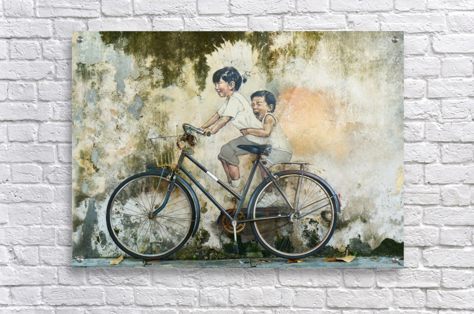 bicycle children graffiti art  Acrylic Print