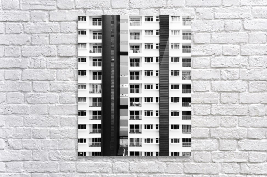 white and black city buildings  Acrylic Print