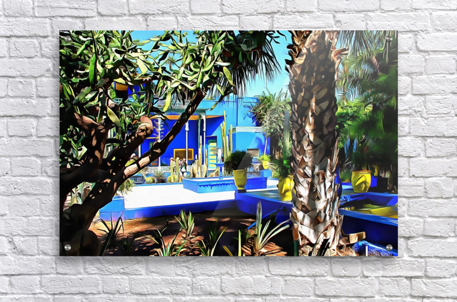 Yellow and Blue Contrasts Jardin Majorelle  Acrylic Print