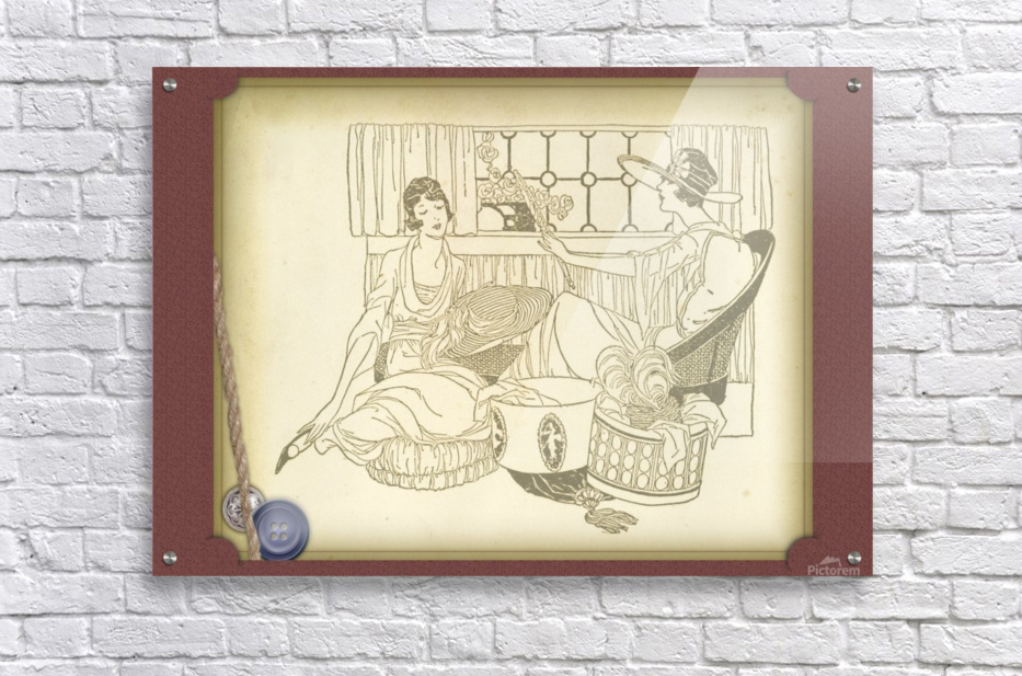 vintage card greeting ladies  Acrylic Print
